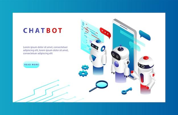 Konzept der künstlichen intelligenz. chatbot und modernes marketing. ai und business iot-konzept. chatbot-anwendungen auf verschiedenen geräten. Premium Vektoren