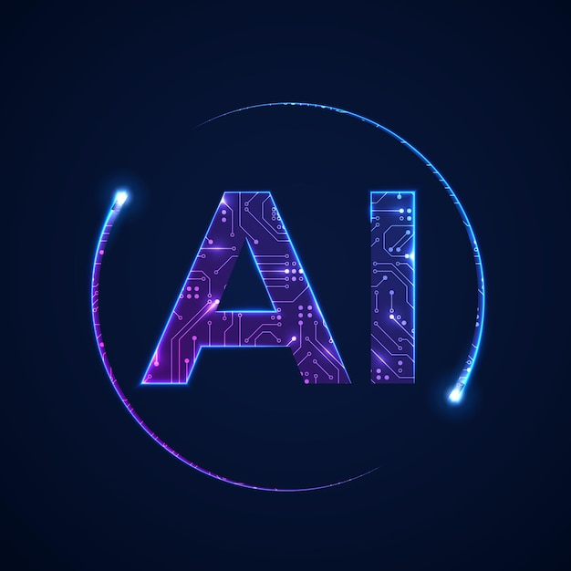 Konzept der künstlichen intelligenz. leiterplattenhintergrund mit ai-logo. illustration Premium Vektoren
