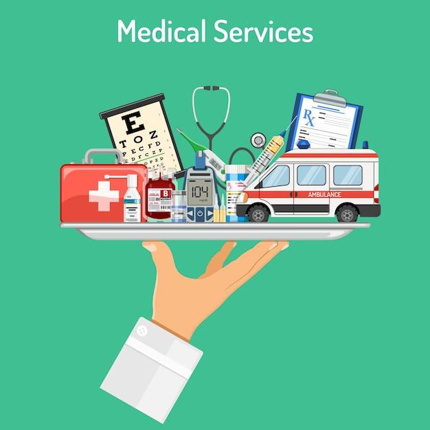 Konzept der medizinischen dienstleistungen Premium Vektoren