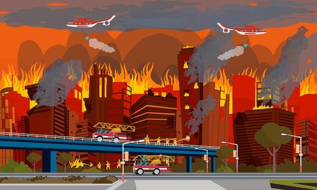 Konzept der menschlichen katastrophe. stadtfeuer auslöschen. Premium Vektoren