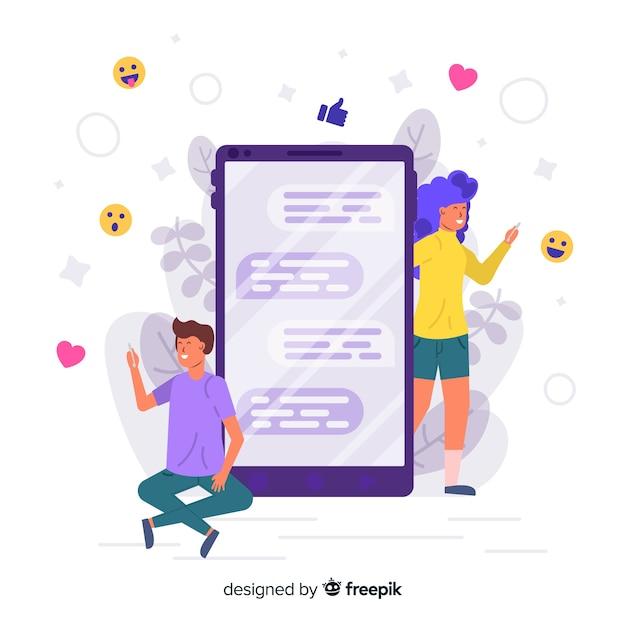 Konzept der online-dating-app Kostenlosen Vektoren