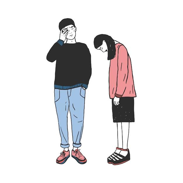 Konzept der scheidung, riss in beziehungen, familienspaltung. trauriges mädchen und kerl nach dem abschied. bunte hand gezeichnete illustration. Premium Vektoren