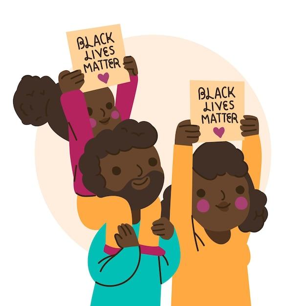 Konzept der schwarzen lebensmaterie Kostenlosen Vektoren