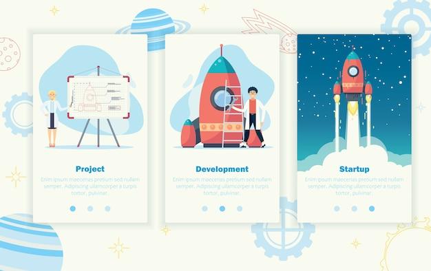 Konzept der unternehmensgründung. starten sie eine rote rakete in den weltraum. geschäftsentwicklung Premium Vektoren