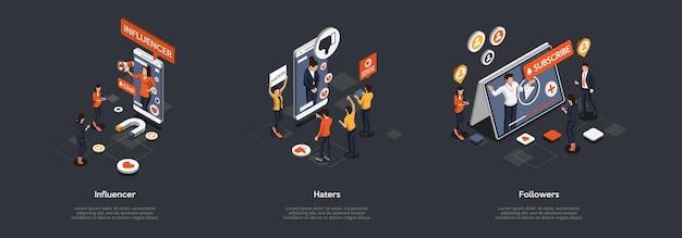 Konzept der werbung in social media und marketingstrategien. geschäftsleute beeinflussen und erhöhen abonnenten, blockieren hasser. menschen, die vorlieben und abneigungen geben. Premium Vektoren