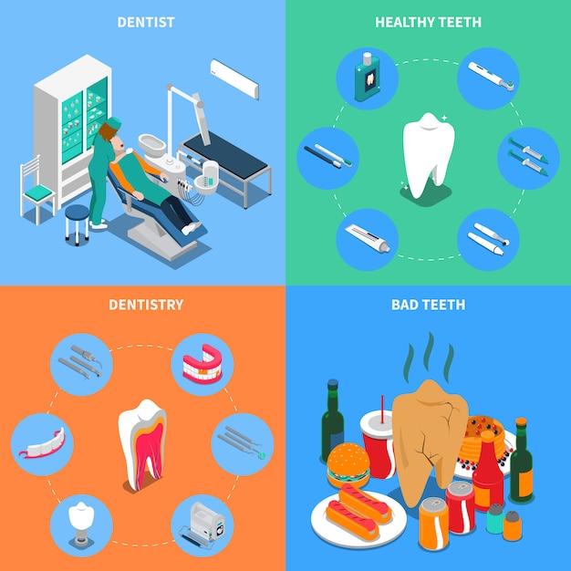 Konzept der zahnheilkunde 2x2 Kostenlosen Vektoren