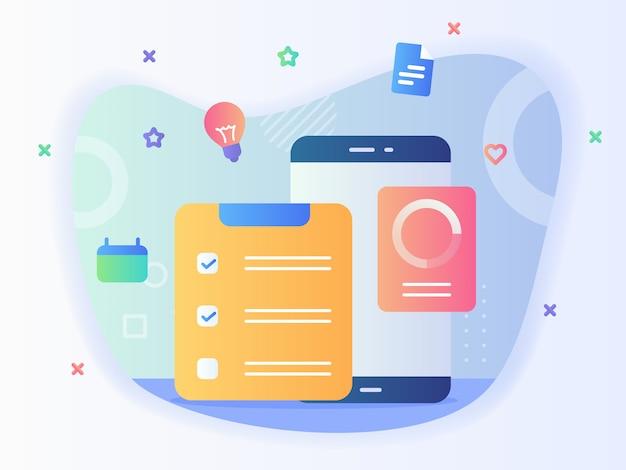 Konzept der zu erledigenden listenaufgabe erledigt checklistenkalender-smartphone mit flachem stil. Premium Vektoren