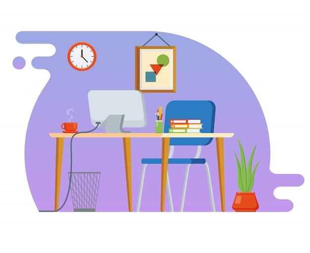 Konzept des arbeitsplatzes mit computer und büroausstattung. Premium Vektoren