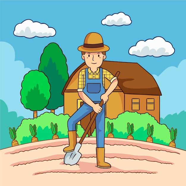 Konzept des biologischen landbaus mit dem mann, der den gräber verwendet Kostenlosen Vektoren