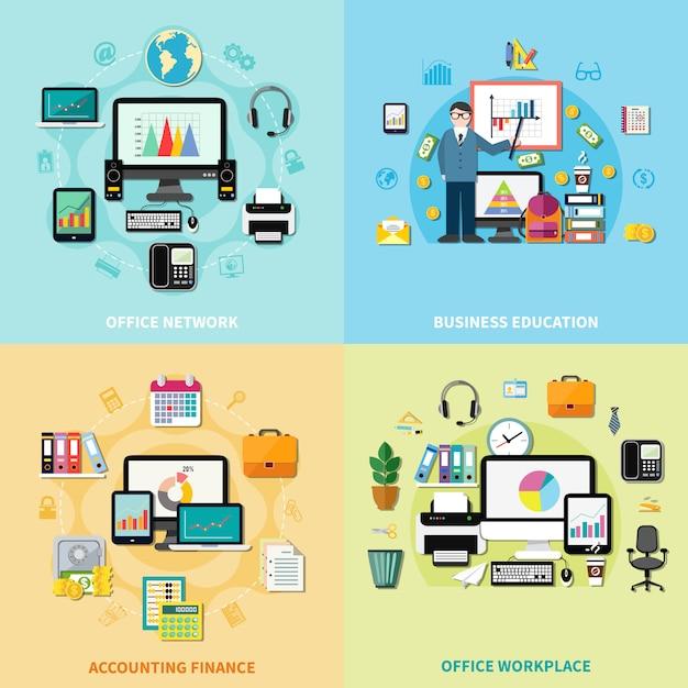 Konzept des büroarbeitsplatz-2x2 Kostenlosen Vektoren
