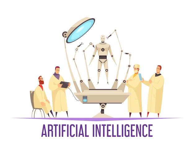 Konzept des entwurfes der künstlichen intelligenz mit medizinischem roboter für chirurgieoperationsandroidwissenschaftler und flache illustration der chirurgen Kostenlosen Vektoren