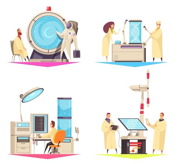 Konzept des entwurfes der wissenschaft 2x2 der forschung auf dem gebiet der medizinischen roboter der biotechnologie und der flachen illustration der grünen energie Kostenlosen Vektoren