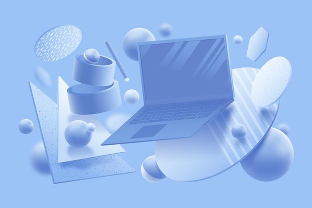 Konzept des grafikdesigns 3d in den pastellfarben Kostenlosen Vektoren