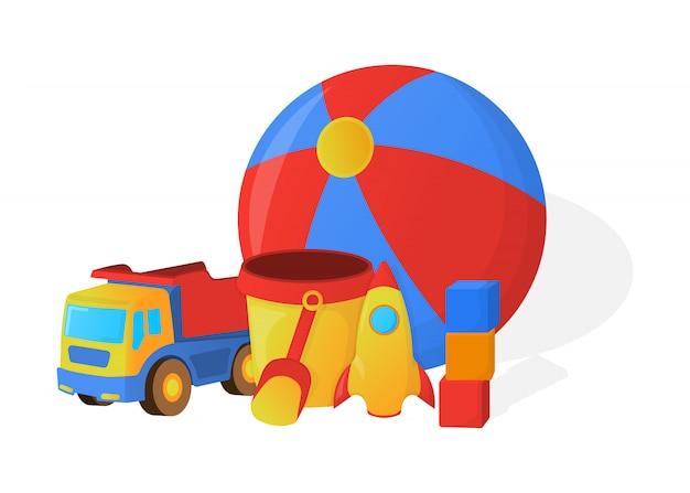 Konzept des kinderspielzeugs. cartoon-stil. vektor-illustration. Premium Vektoren