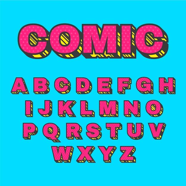 Konzept des komischen alphabetes 3d Kostenlosen Vektoren