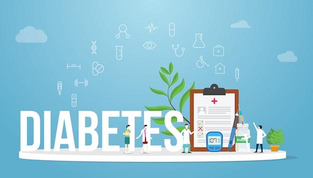 Konzept des medizinischen gesundheitsberichts des diabeteskonzeptes mit mannschaftsarzt und krankenschwester Premium Vektoren