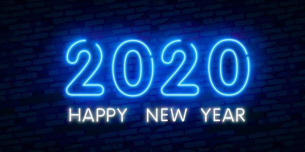 Konzept des neuen jahres 2020 mit bunten neonlichtern. retro-design-elemente für präsentationen, flyer, flugblätter, Premium Vektoren