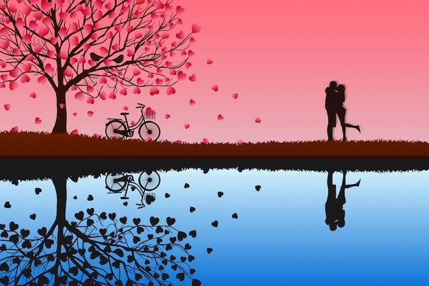 Konzept des valentinstags stehen männer und frauen zusammen, um liebe auszudrücken. vektorabbildung der rosa papierkunst. Premium Vektoren