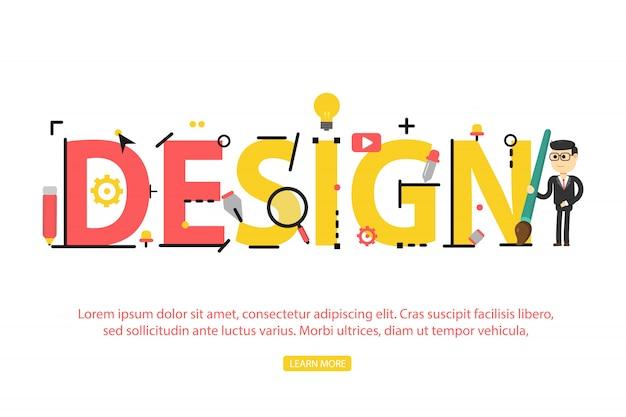 Konzept des wortdesigns. illustrationskonzept für website, banner und mobile Premium Vektoren