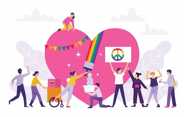 Konzept einer farbenfrohen pride-parade, menschen arbeiten zusammen für das lgbt-festival Premium Vektoren