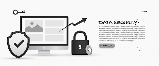 Konzept für datensicherheit und schutz personenbezogener daten Premium Vektoren