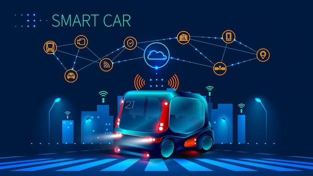 Konzept für fahrerassistenzsysteme. autonomes auto. fahrerloses auto Premium Vektoren