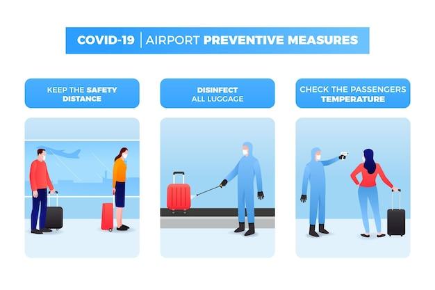 Konzept für vorbeugende maßnahmen am flughafen Kostenlosen Vektoren