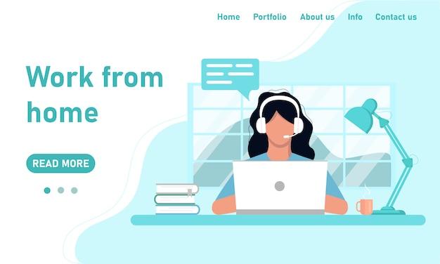 Konzept für website-vorlage und arbeit von zu hause aus banner. mädchen freiberuflich in kopfhörern an einem laptop arbeitet von home office chat kundenbetreuung, training. grafiken in einem flachen stil in blauen farben Premium Vektoren
