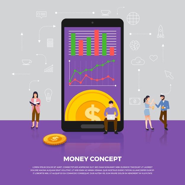 Konzept geldgeschäft. gruppe menschen entwicklung ikone münzgeld. veranschaulichen. Premium Vektoren
