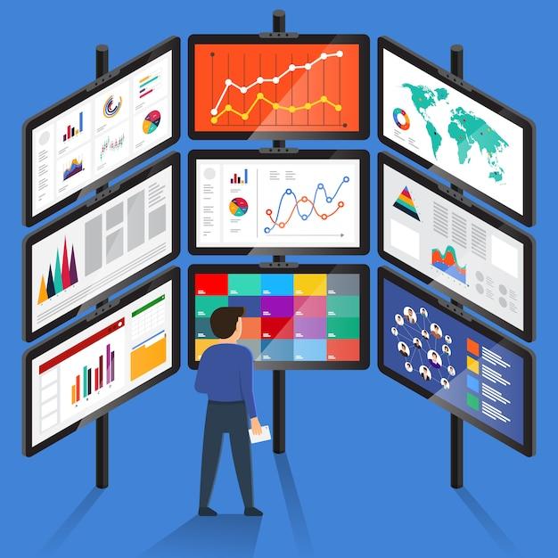 Konzept geschäftsmann analyse digitale daten. veranschaulichen Premium Vektoren