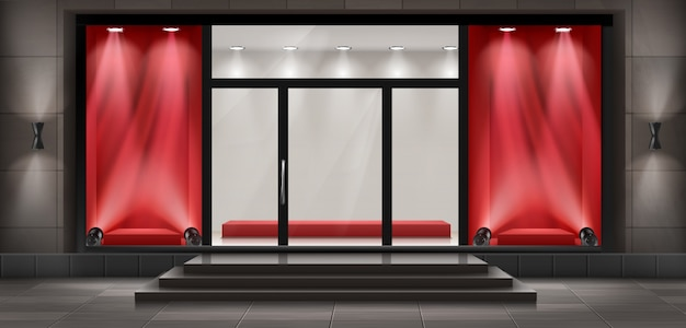 Konzept hintergrund, boutique shop fassade mit schild. Kostenlosen Vektoren