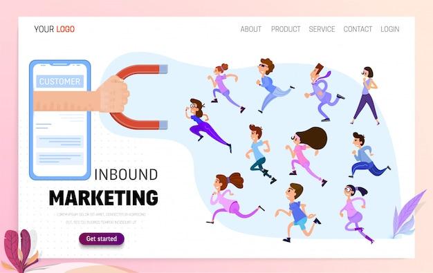 Konzept inbound marketing Premium Vektoren