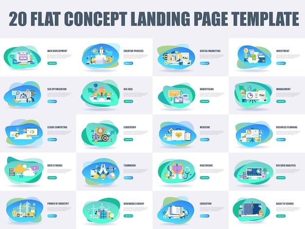 Konzept-landungsseitenschablone des bündels flache design Premium Vektoren