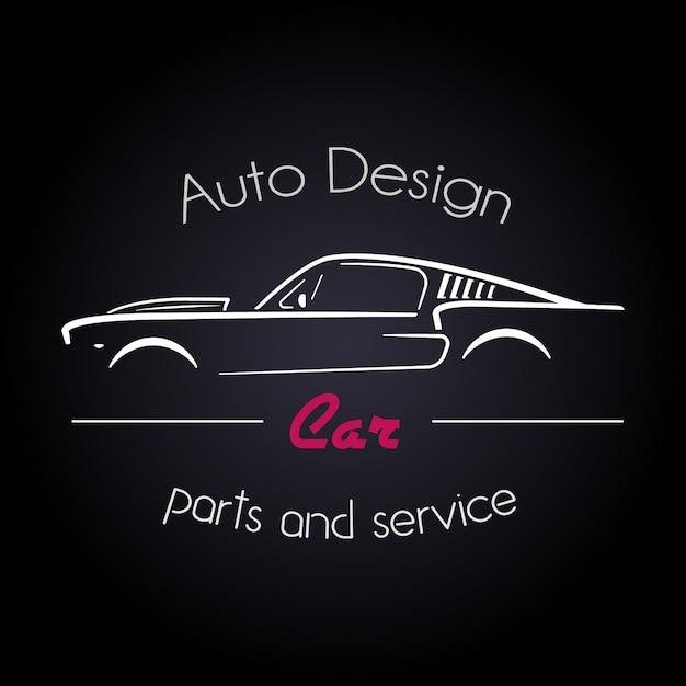 Konzept mit klassischen amerikanischen stil sport car silhouette. Premium Vektoren