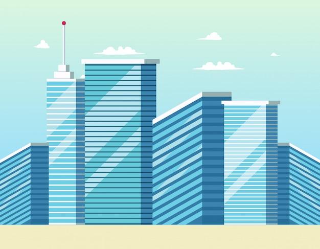 Konzept-moderne stadtbau-gebäude Kostenlosen Vektoren