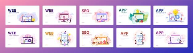 Konzept-set für mobile app und webentwicklung. programmier-app für digitales gerät. schnittstelle für benutzer erstellen. illustration mit stil Premium Vektoren