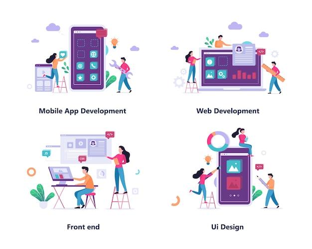 Konzept-set für mobile app und webentwicklung Premium Vektoren