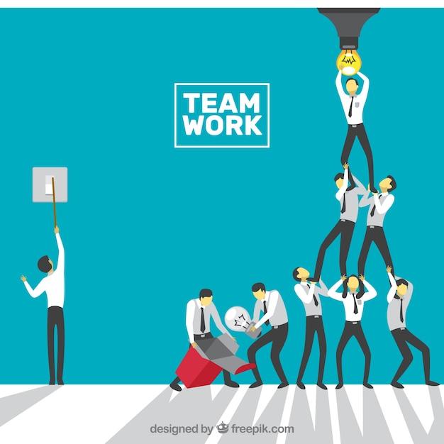 Konzept über teamarbeit, glühbirne Kostenlosen Vektoren
