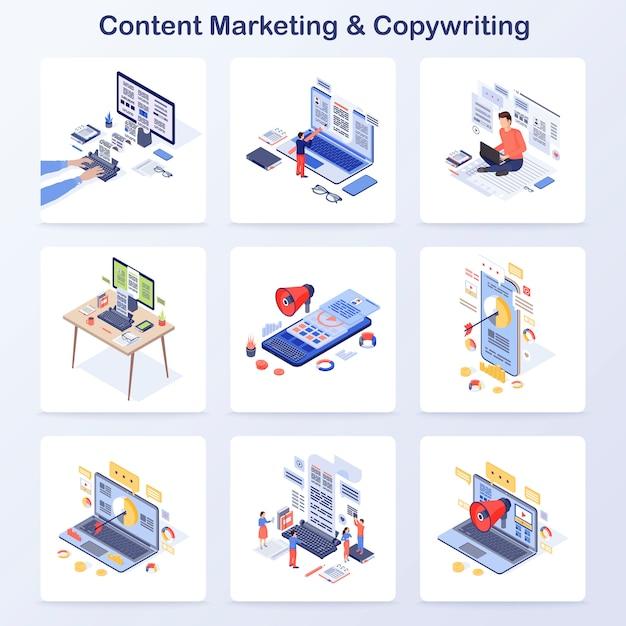 Konzept-vektorikonen des zufriedenen marketings u. des copywritings isometrische eingestellt Premium Vektoren