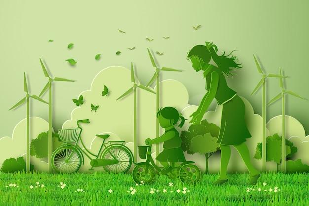 Konzept von eco mit der familie Premium Vektoren