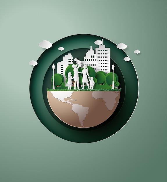 Konzept von eco mit familie papierschnittart Premium Vektoren