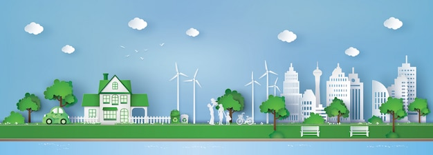 Konzept von umweltfreundlichem und retten die erde Premium Vektoren