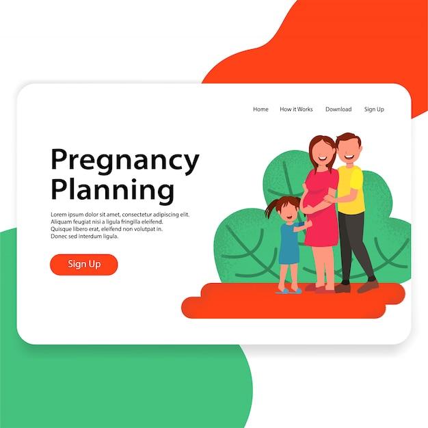 Konzept-zielseite der schwangerschafts-plan-illustration Premium Vektoren