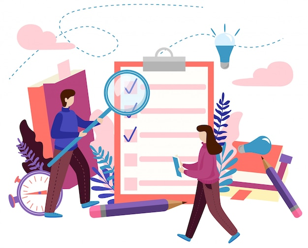 Konzept zu tun liste, checkliste, erledigte arbeit, kreativer prozess Premium Vektoren