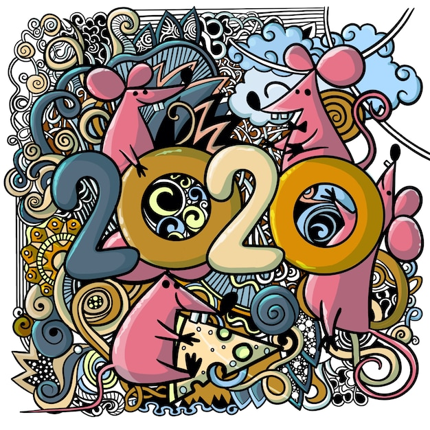 Konzeptbild des chinesischen guten rutsch ins neue jahr 2020 des symbols Premium Vektoren