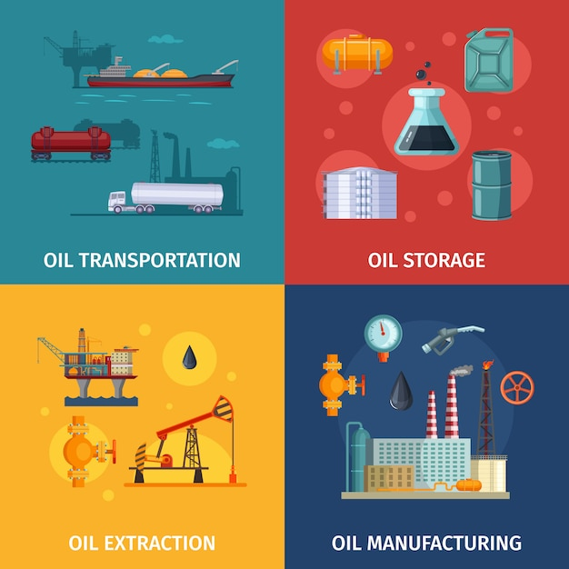 Konzeptbilder der erdölförderung. kraftstofferkundung Premium Vektoren