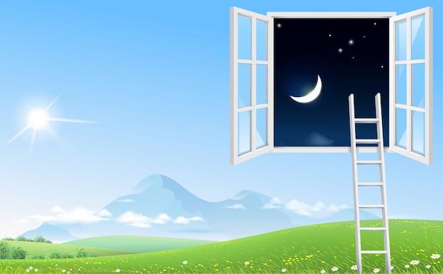 Konzeptbildfenster und -treppenhaus zum nächtlichen himmel Premium Vektoren