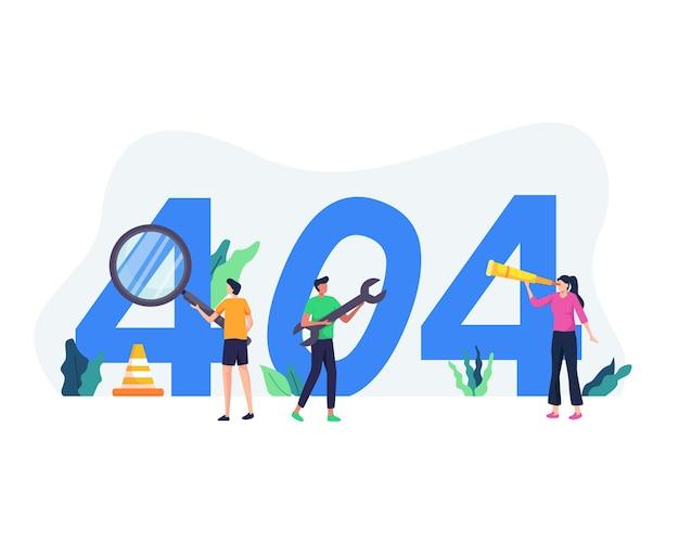 Konzeptdarstellung des seitenfehlers 404. website-wartungsfehler, webseite im aufbau konzept. 404 internetverbindungsproblemmeldung anzeigen. im flachen stil Premium Vektoren
