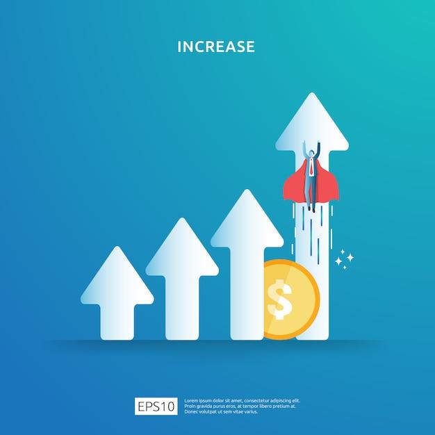 Konzeptdarstellung zur erhöhung der einkommenslohnrate mit personencharakter und pfeil. finanzierungsperformance des return on investment roi. geschäftsgewinnwachstum, verkauf steigern margenumsatz mit dollarsymbol Premium Vektoren