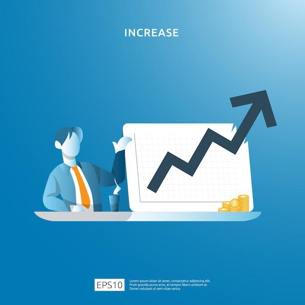 Konzeptdarstellung zur erhöhung der einkommenslohnrate mit personencharakter und pfeil. geschäftsgewinnwachstum, verkauf steigern margenumsatz mit dollarsymbol. finanzierungsperformance des return on investment roi Premium Vektoren